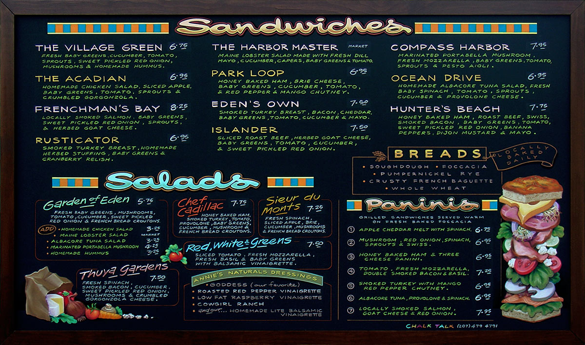 colorful hand-lettered chalk menu boards portfolio
